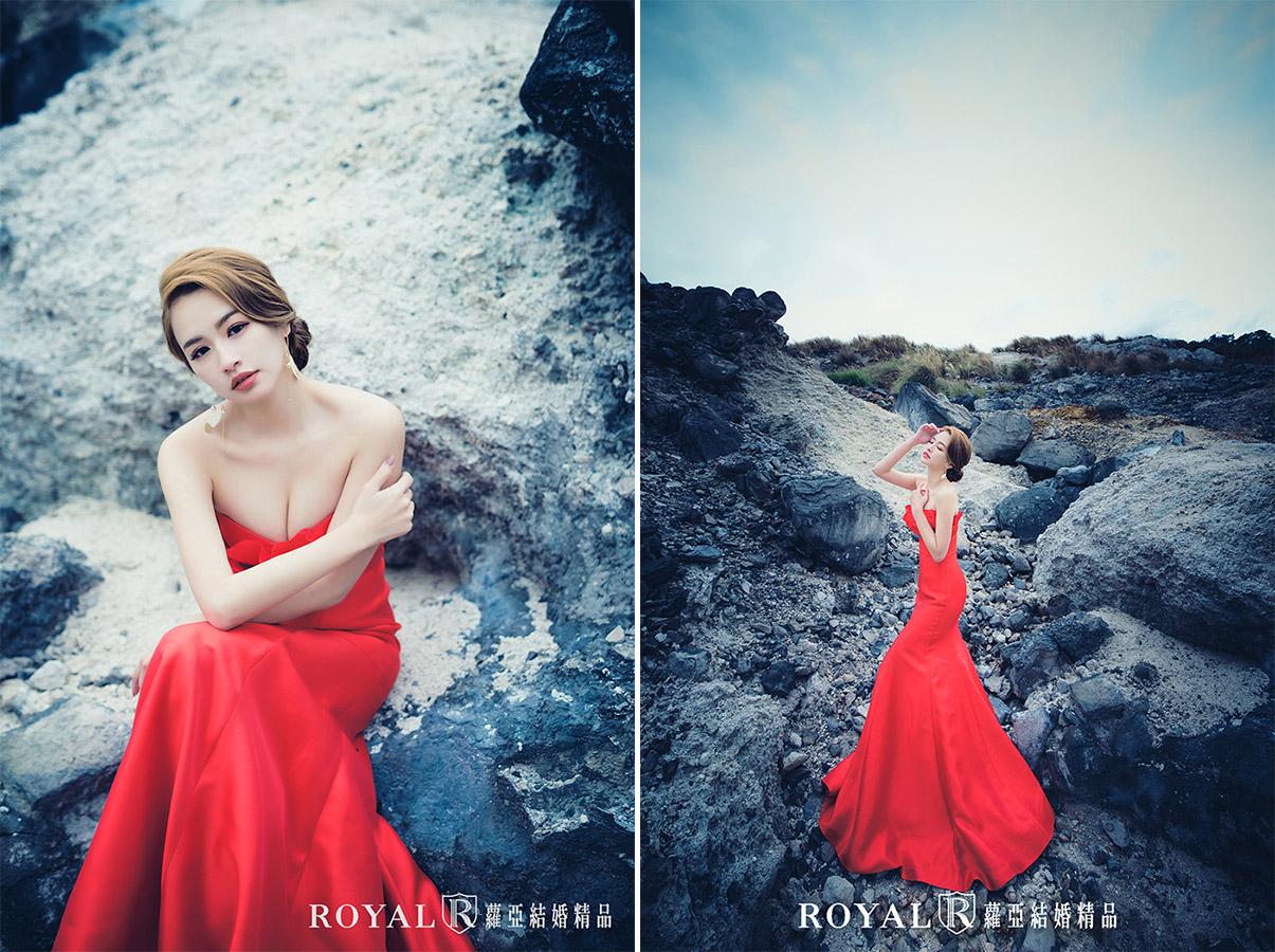 婚紗照姿勢-單人婚紗姿勢-新娘-紅色禮服-龍鳳谷-2-台北-婚紗照-蘿亞婚紗
