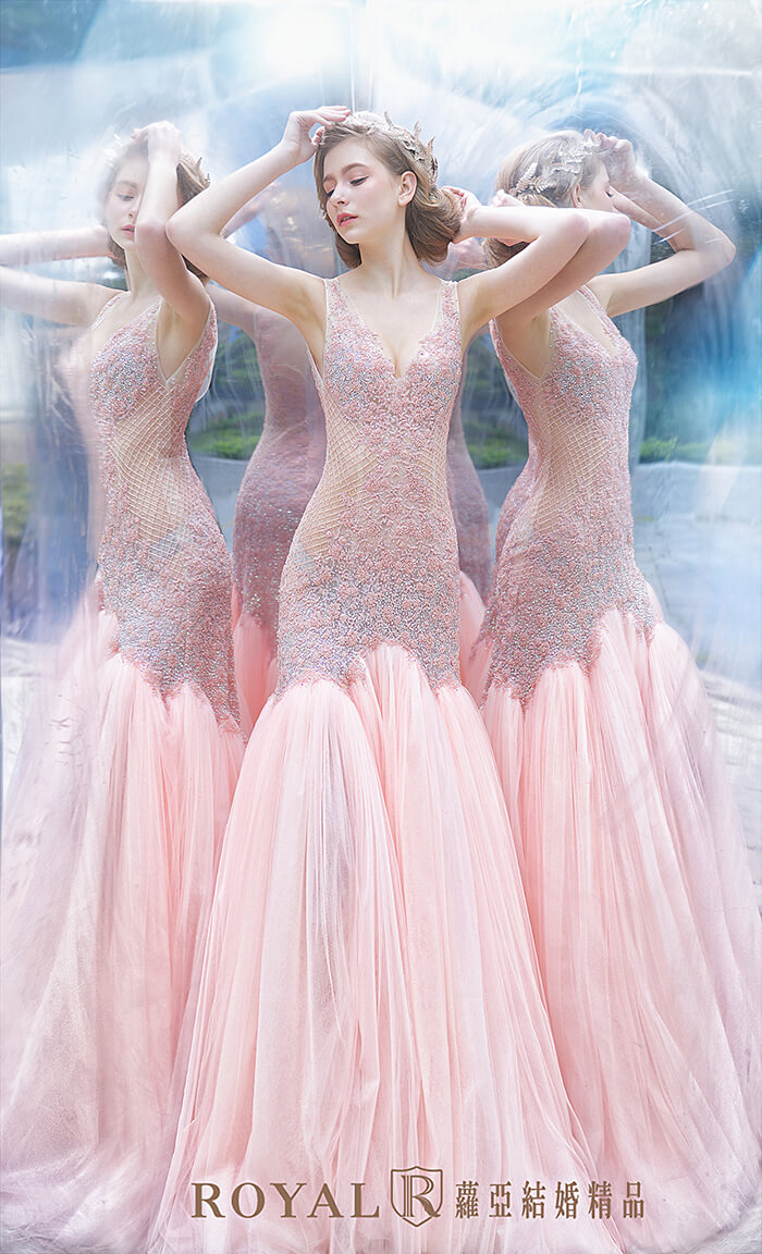 裸紗-性感婚紗-粉紅色魚尾裸紗-婚紗禮服-婚紗照-拍婚紗-婚紗推薦-台北-蘿亞婚紗