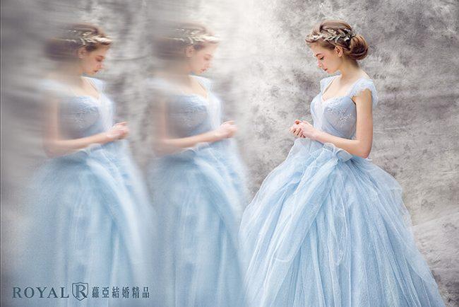 公主風婚紗-婚紗禮服款式-蓬裙婚紗-粉藍禮服-甜美婚紗