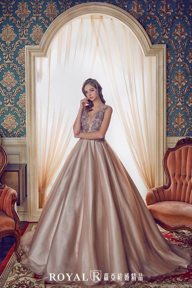 婚紗款式2019-婚紗禮服款式-蓬裙婚紗-咖啡色禮服-深V婚紗-美背婚紗