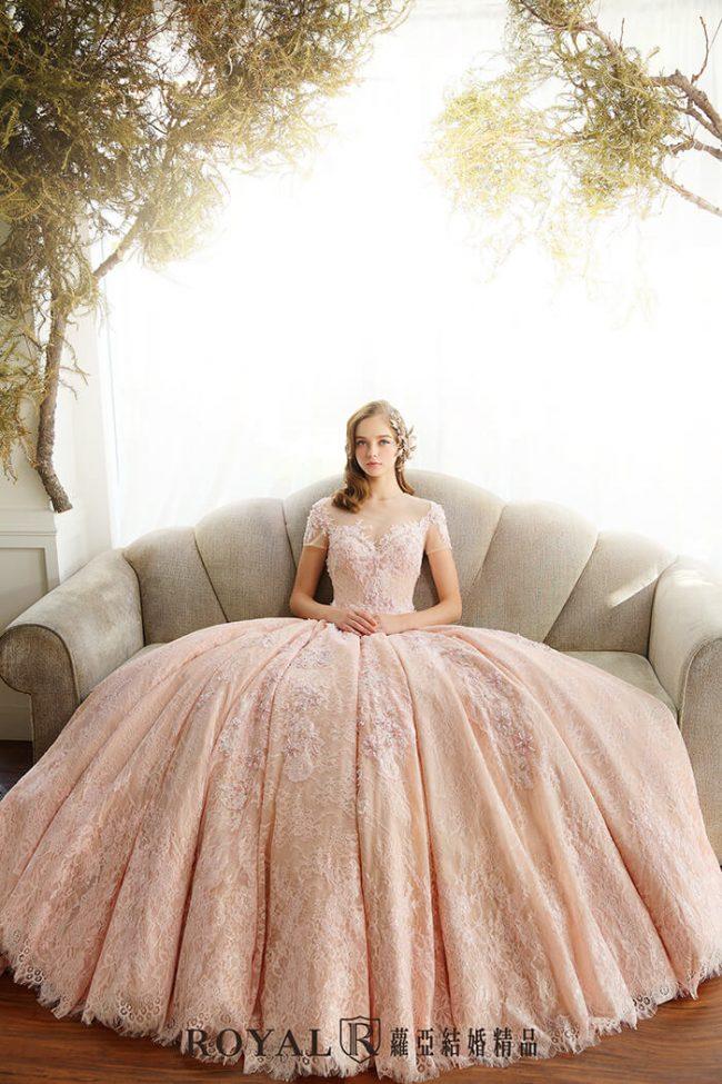 婚紗款式2020-婚紗禮服款式-蓬裙婚紗-粉紅禮服-短袖婚紗-蕾絲婚紗