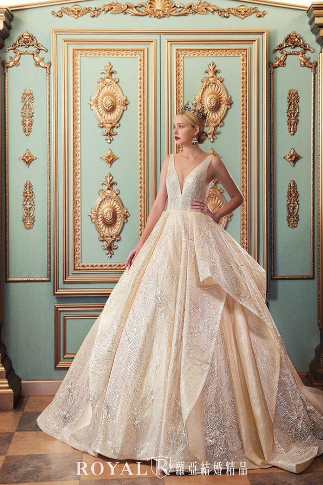 婚紗款式2020-婚紗禮服款式-蓬裙婚紗-金色白紗-華麗婚紗-時裝婚紗