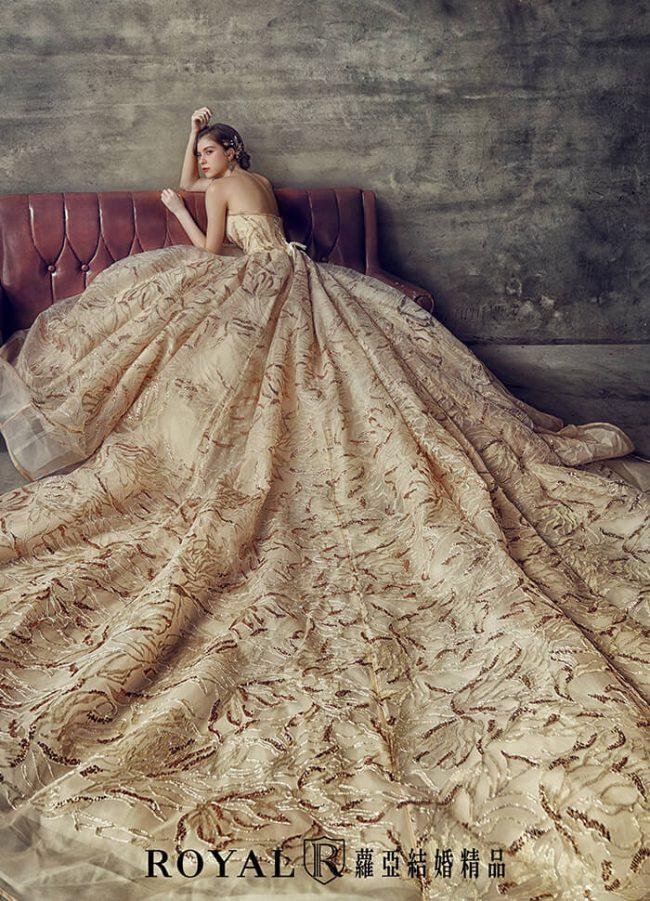婚紗款式2020-婚紗禮服款式-蓬裙婚紗-金色禮服-桃心領婚紗-華麗婚紗