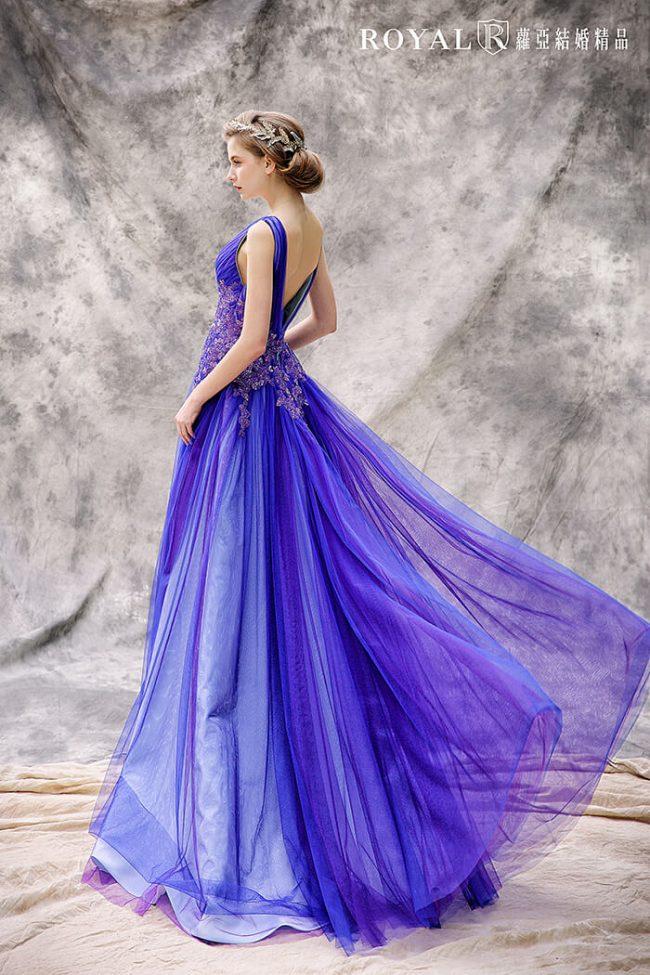 婚紗款式2020-婚紗禮服款式-藍紫色禮服-手工婚紗-a line婚紗
