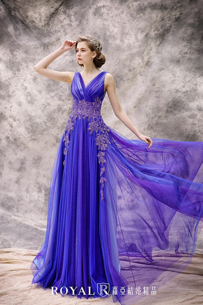 婚紗款式2020-婚紗禮服款式-a line婚紗-藍紫色禮服-手工婚紗