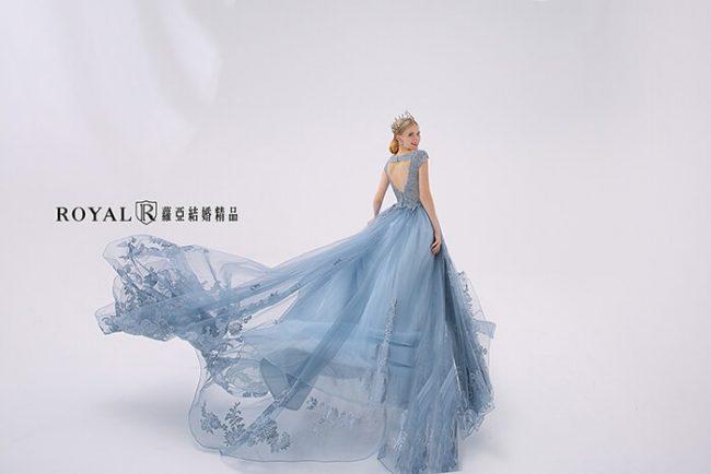婚紗款式2020-婚紗禮服款式-a line-灰藍禮服-古典婚紗-手工婚紗