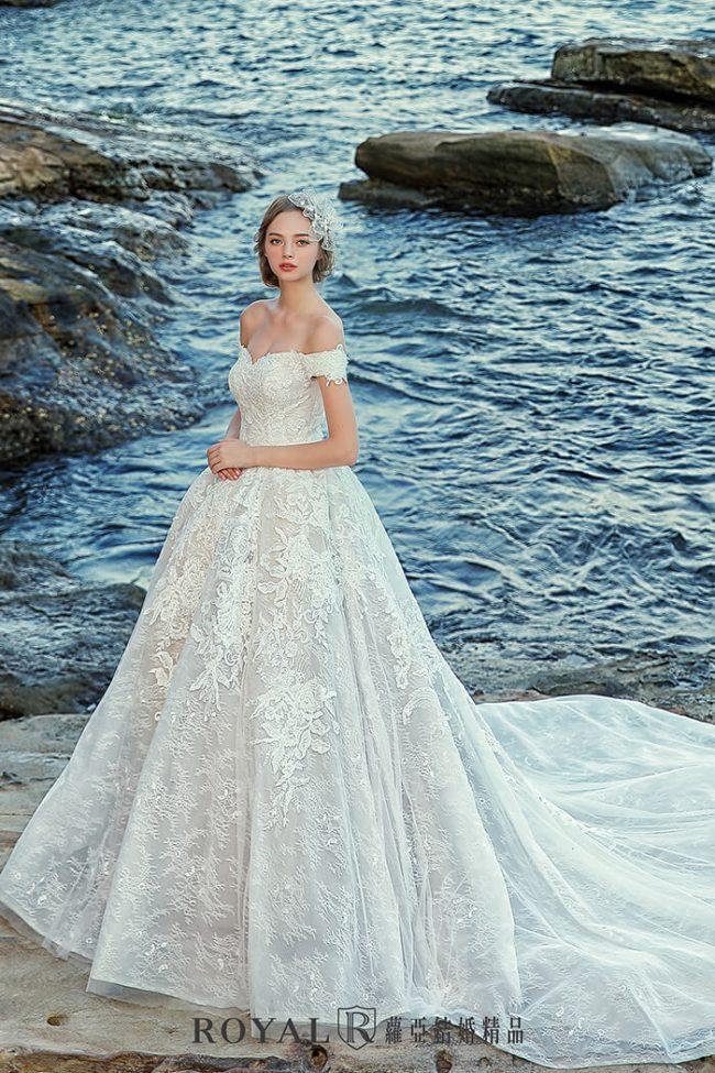 婚紗禮服款式-卡肩婚紗-卡肩白紗-手工婚紗-古典婚紗-澎裙婚紗