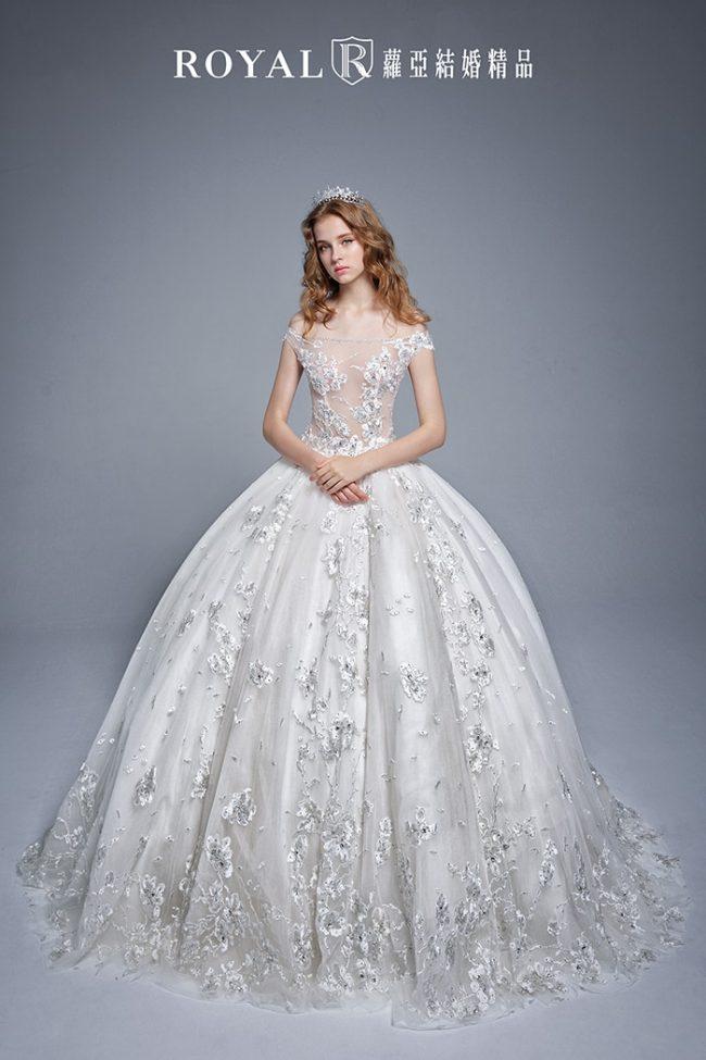 婚紗禮服款式-卡肩婚紗-卡肩白紗-手工婚紗-婚紗款式2019