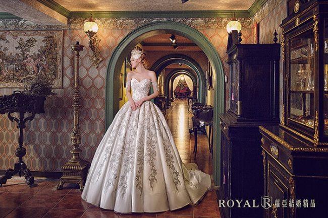 婚紗禮服款式-卡肩婚紗-卡肩白紗-手工婚紗-宮廷風婚紗-手工婚紗