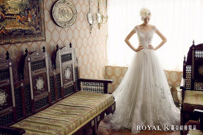 婚紗禮服款式-卡肩婚紗-卡肩白紗-手工婚紗-輕婚紗