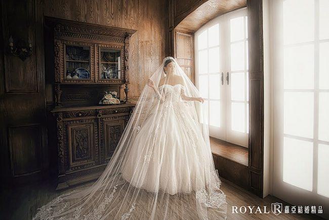 婚紗禮服款式-卡肩婚紗-長袖婚紗-卡肩白紗-古典婚紗