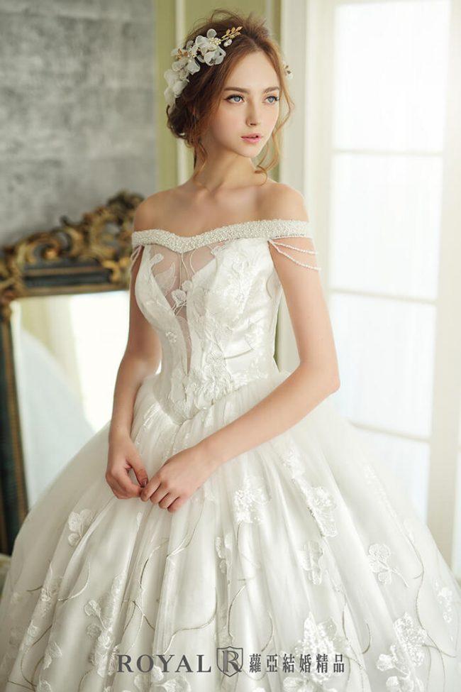 婚紗禮服款式-婚紗款式2020-手工婚紗-古典婚紗-卡肩婚紗-卡肩白紗