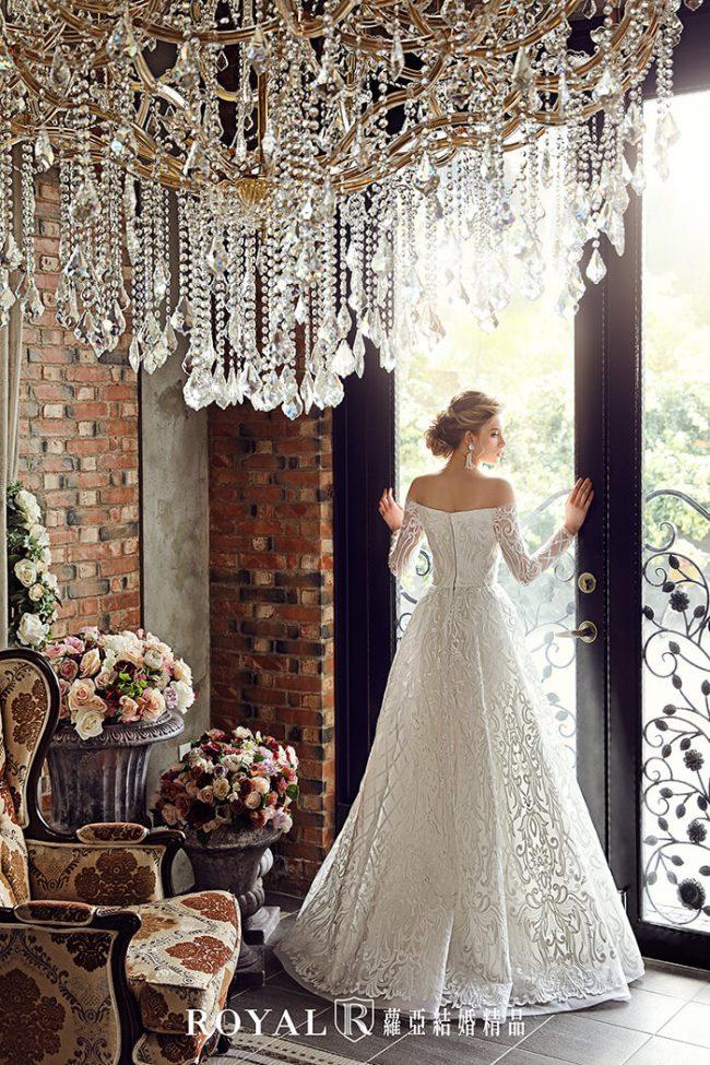 婚紗禮服款式-手工婚紗-婚紗款式2020-古典長袖婚紗-aline婚紗