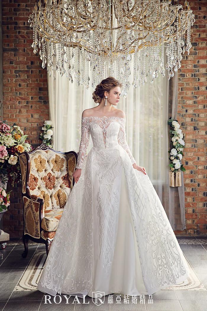 婚紗禮服款式-手工婚紗-婚紗款式2020-aline婚紗-古典長袖婚紗