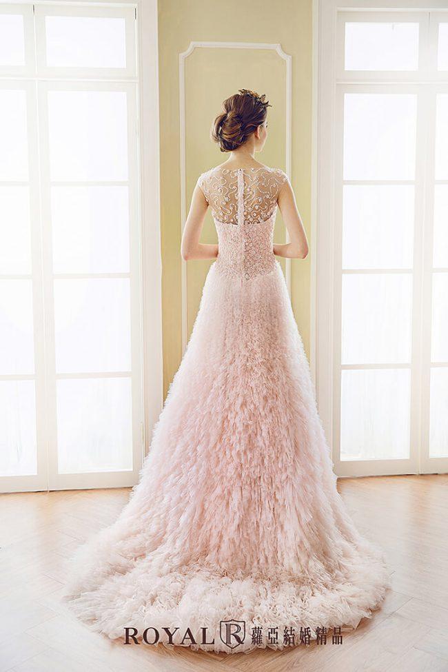 婚紗禮服款式-手工婚紗-甜美婚紗-粉色禮服-a line婚紗