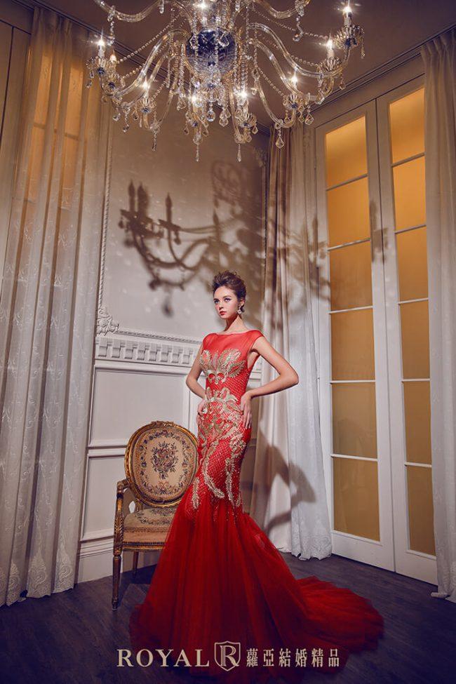 婚紗禮服款式-手工禮服-紅色禮服-魚尾禮服-裸紗婚紗