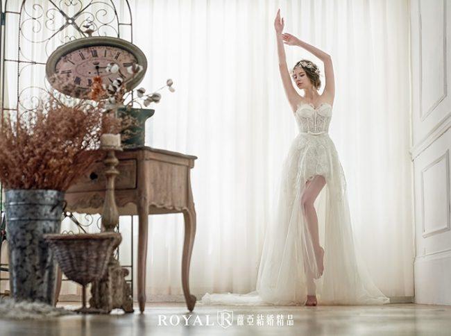 婚紗禮服款式-桃心領婚紗-長短後長白紗-輕婚紗