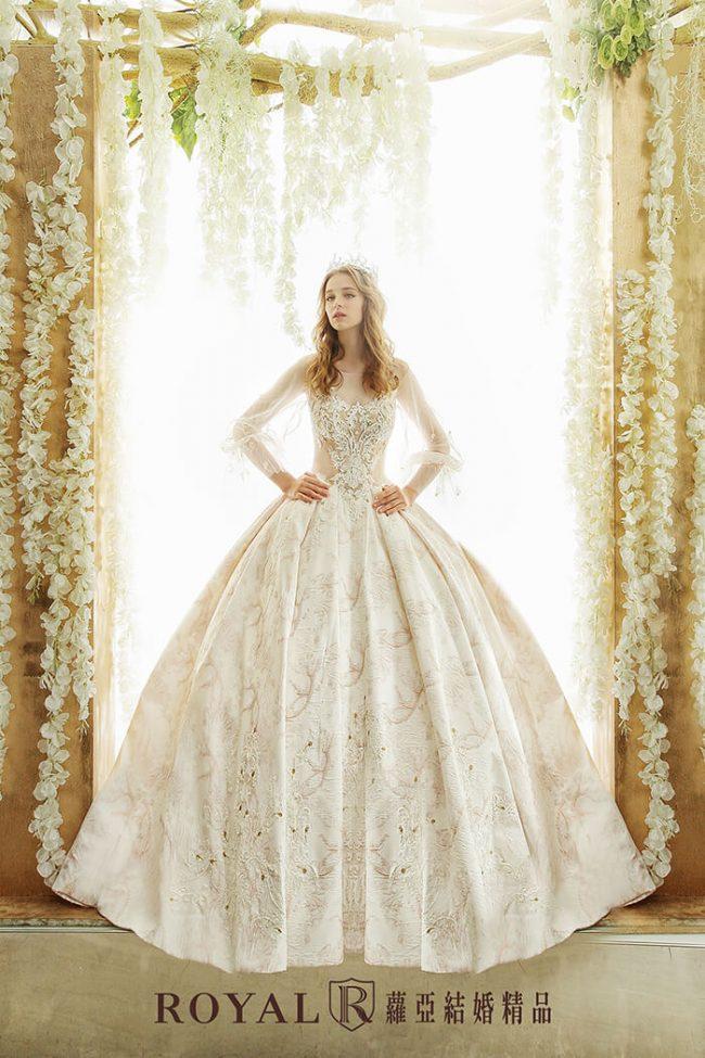 婚紗禮服款式-特殊袖型-古典長袖婚紗-婚紗款式2020-手工婚紗