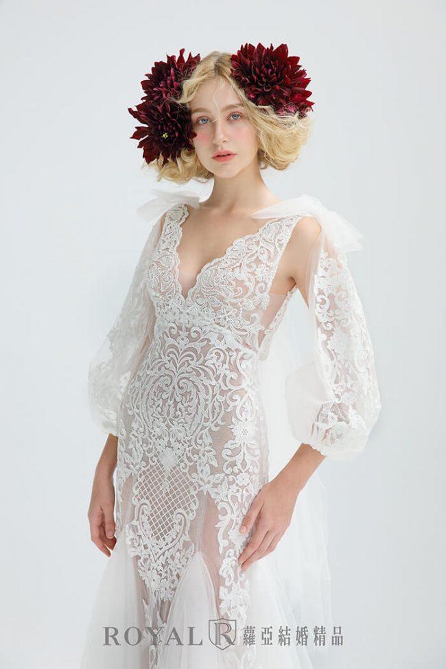 婚紗禮服款式-特殊袖型-手工婚紗-魚尾款式-婚紗禮服2020