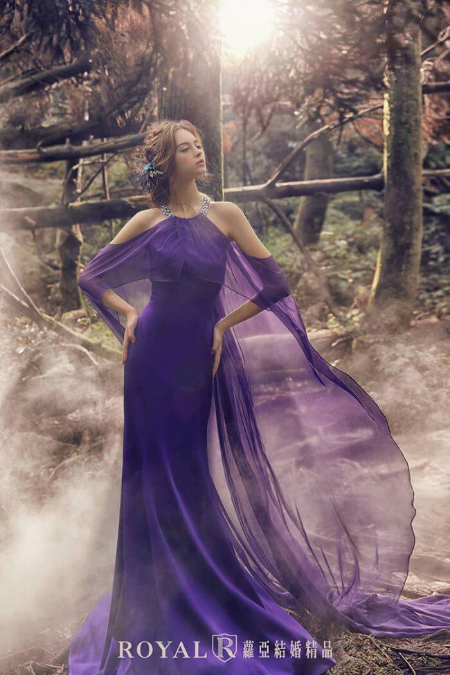 婚紗禮服款式-特殊袖型-繞頸-婚紗款式2020-魚尾婚紗