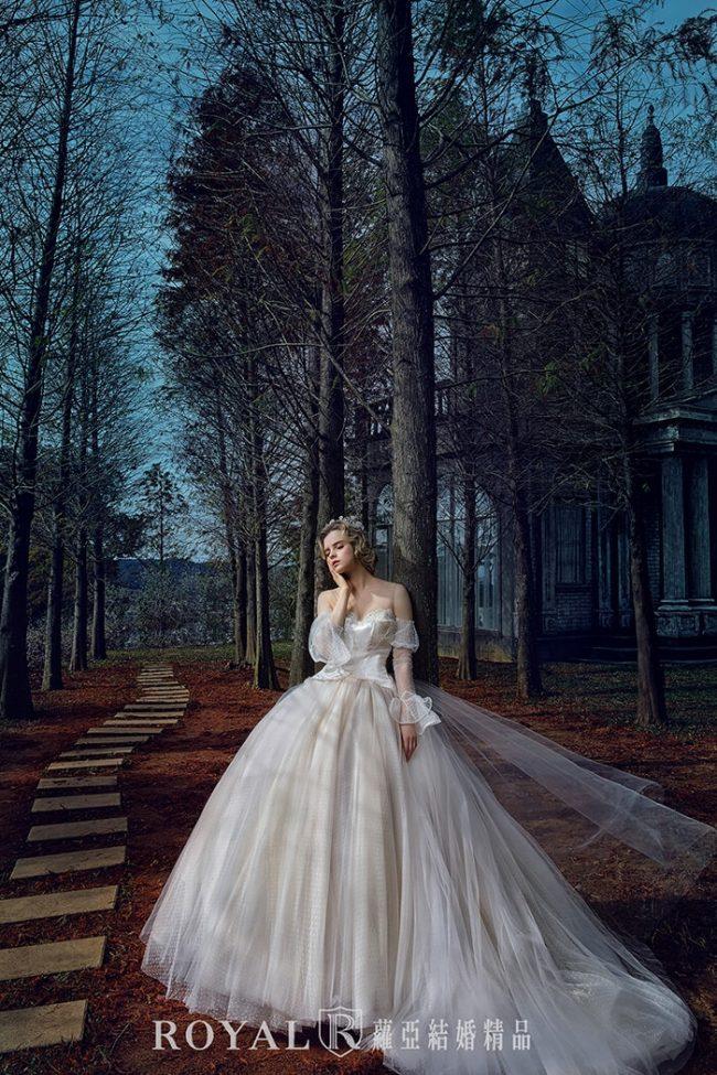 婚紗禮服款式-特殊袖型-魚尾婚紗-婚紗款式2020-古典長袖婚紗