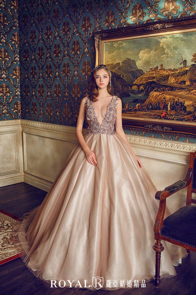 婚紗禮服款式-蓬裙婚紗-咖啡色禮服-深V婚紗-美背婚紗-婚紗款式2019