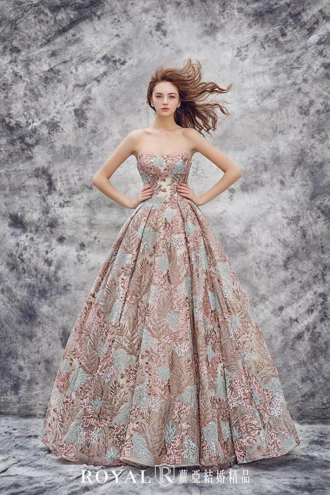 婚紗禮服款式-蓬裙婚紗-咖啡色禮服-甜美禮服-桃心領婚紗