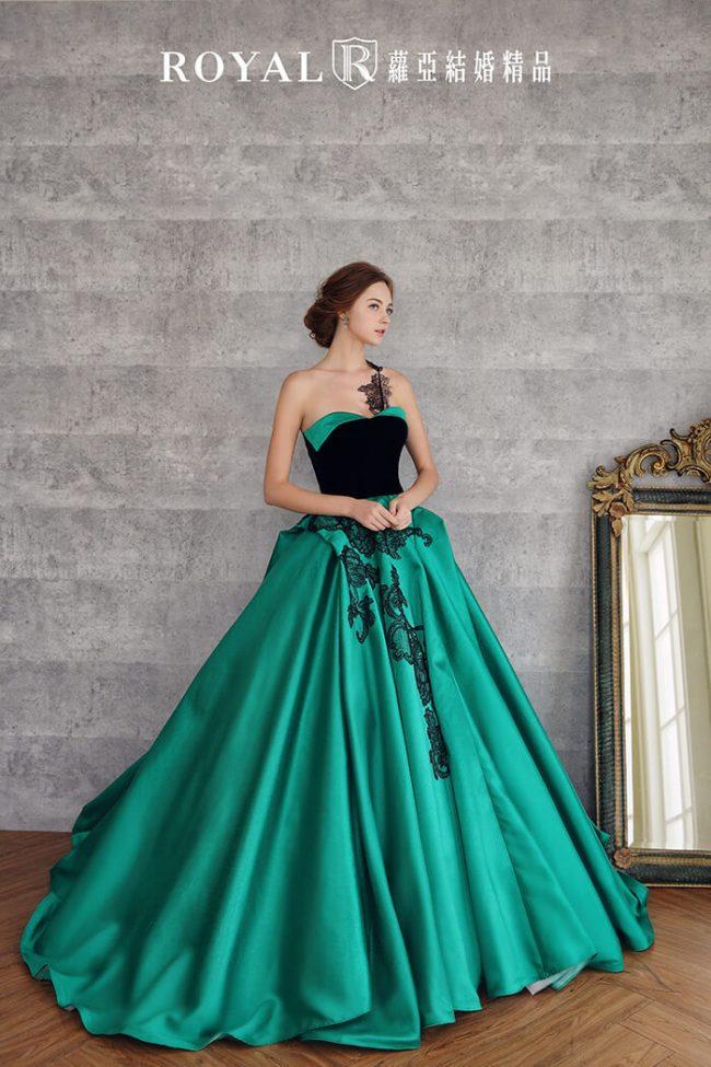 婚紗禮服款式-蓬裙婚紗-寶石綠禮服-時裝婚紗-緞面婚紗