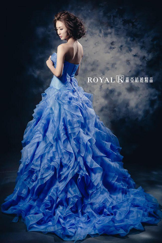 婚紗禮服款式-蓬裙婚紗-手工婚紗-水藍婚紗-送客禮服藍色