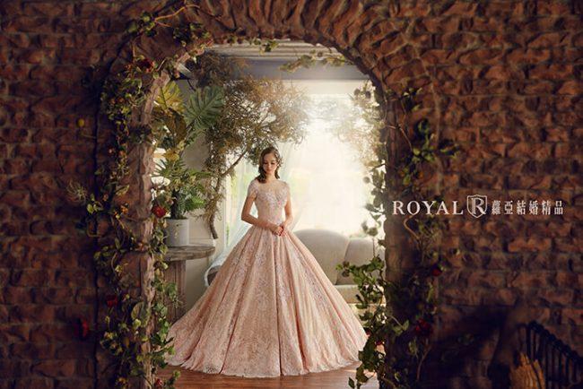 婚紗禮服款式-蓬裙婚紗-手工婚紗-粉色禮服-古典婚紗