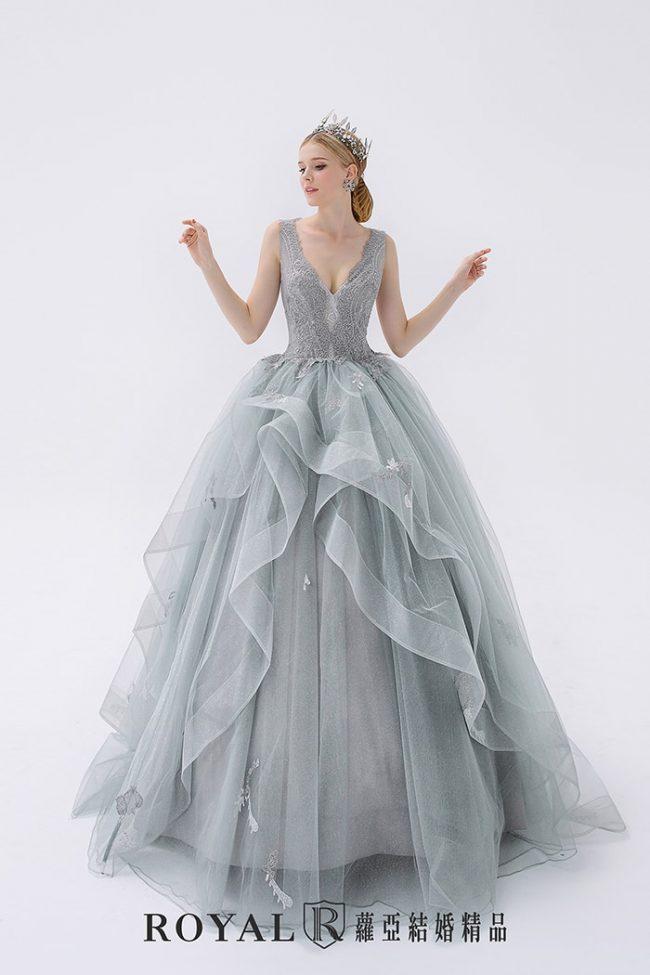 婚紗禮服款式-蓬裙婚紗-灰色禮服-時裝婚紗-深V婚紗