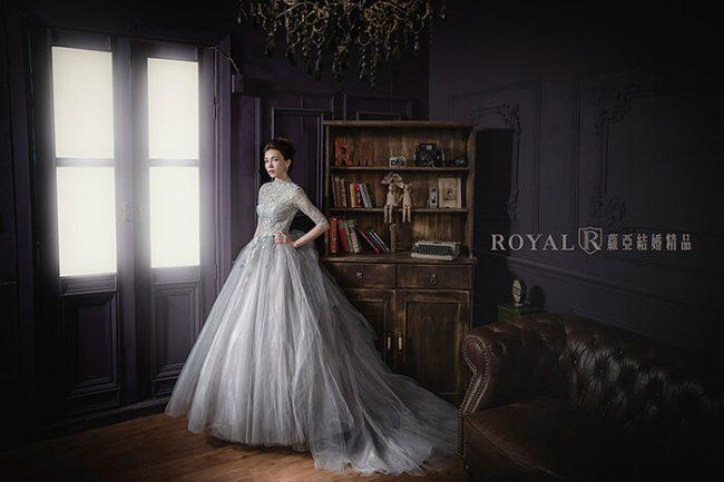 婚紗禮服款式-蓬裙婚紗-灰色禮服-高領婚紗-美背婚紗