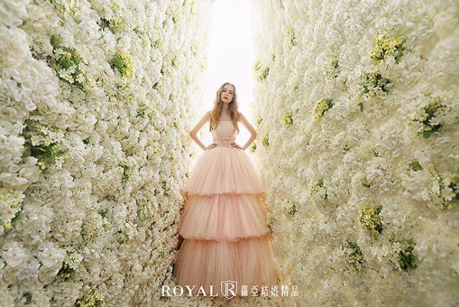 婚紗禮服款式-蓬裙婚紗-粉色禮服-甜美婚紗-蛋糕裙婚紗-平口婚紗-手工婚紗