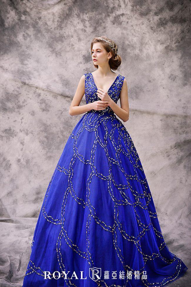婚紗禮服款式-蓬裙婚紗-經典藍禮服-歐式婚紗