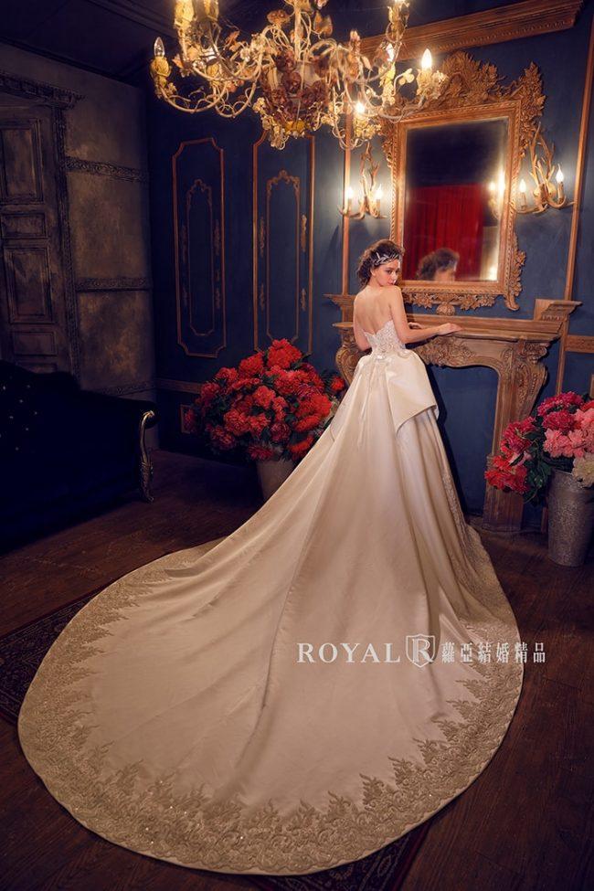 婚紗禮服款式-蓬裙婚紗-緞面白紗-手工婚紗-緞面婚紗