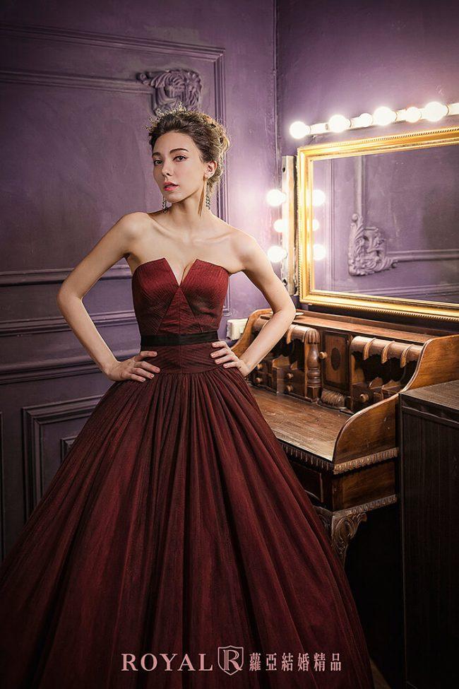婚紗禮服款式-蓬裙婚紗-酒紅禮服-美式婚紗-俐落婚紗