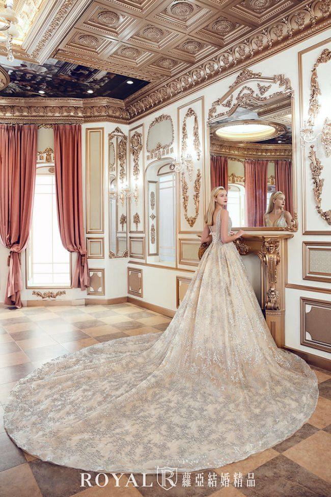 婚紗禮服款式-蓬裙婚紗-金色白紗-宮廷風婚紗-婚紗款式2020
