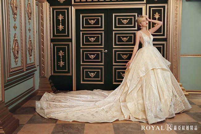 婚紗禮服款式-蓬裙婚紗-金色白紗-華麗婚紗-時裝婚紗-婚紗款式2020