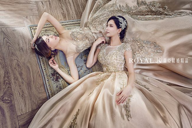 婚紗禮服款式-蓬裙婚紗-金色禮服-宮廷風婚紗-手工婚紗-華麗婚紗