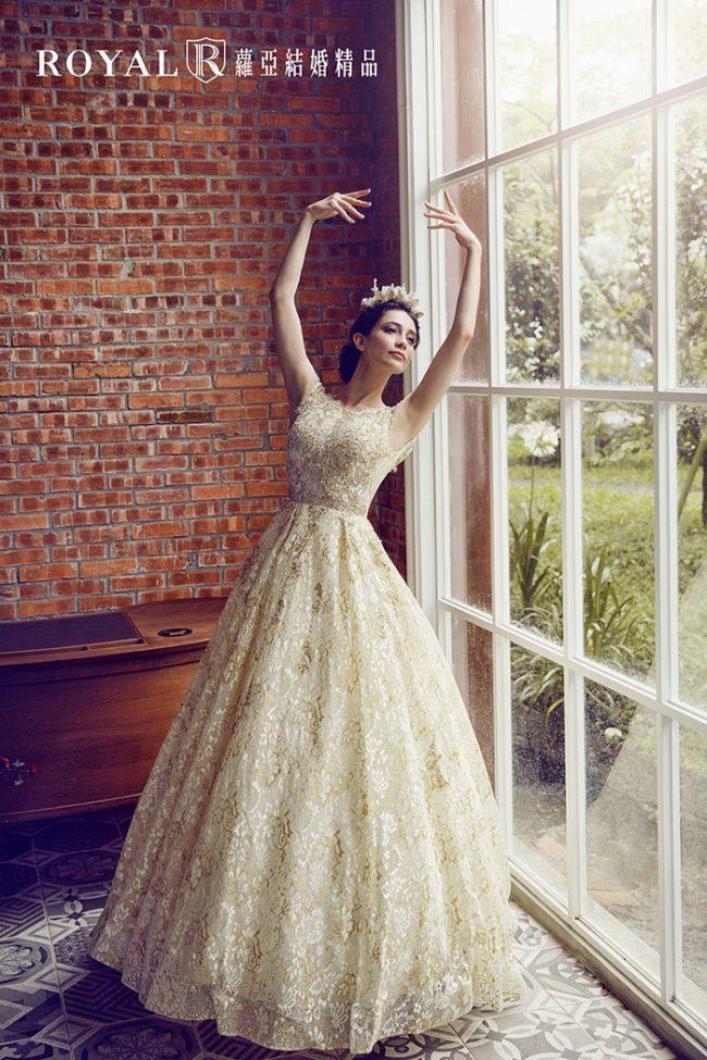 婚紗禮服款式-蓬裙婚紗-金色禮服-華麗婚紗-美背婚紗