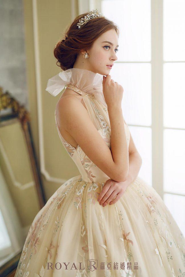 婚紗禮服款式-蓬裙婚紗-高領禮服-削肩婚紗-手工婚紗-婚紗款式2020