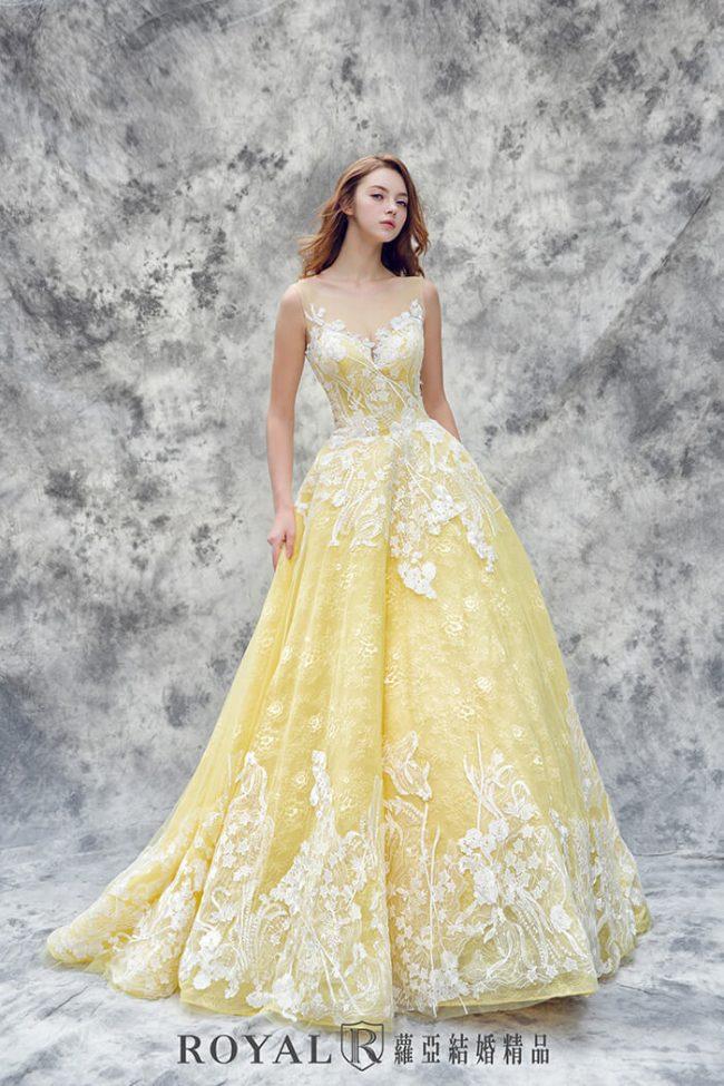 婚紗禮服款式-蓬裙婚紗-黃色禮服-甜美婚紗-婚紗款式2019