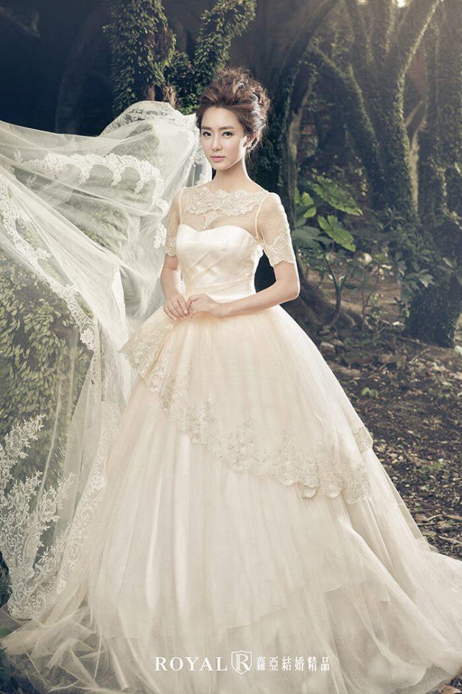 婚紗禮服款式-蓬裙婚紗-香檳金禮服-婚紗款式2020-短袖婚紗