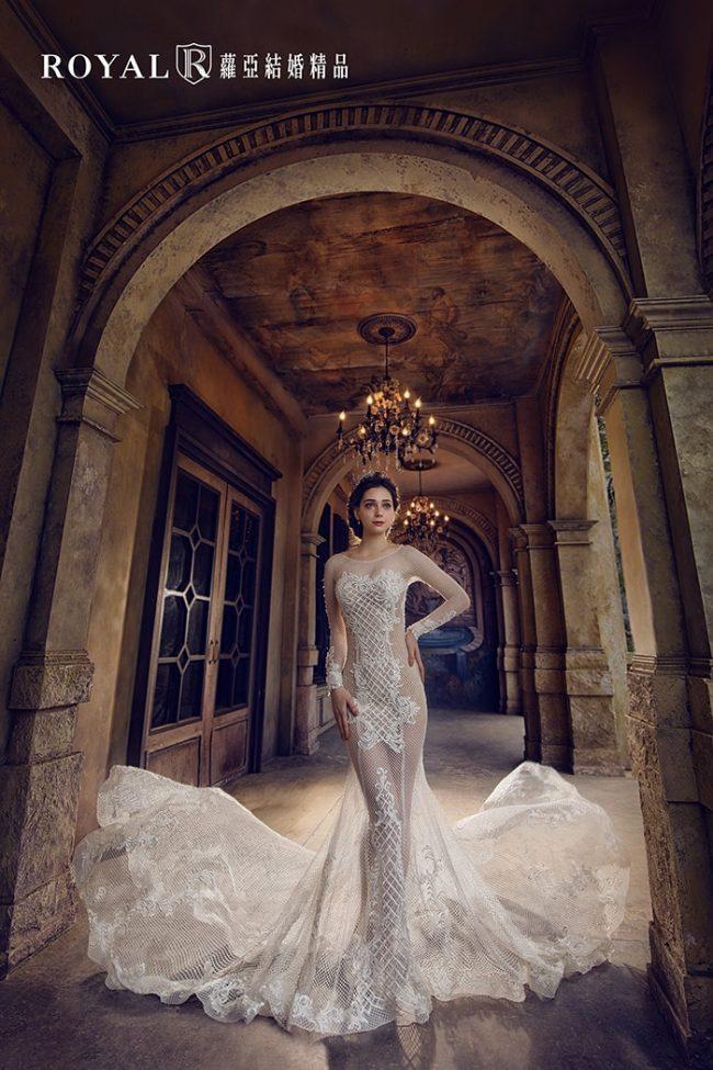 婚紗禮服款式-裸紗婚紗-婚紗款式2020-長袖婚紗-魚尾婚紗