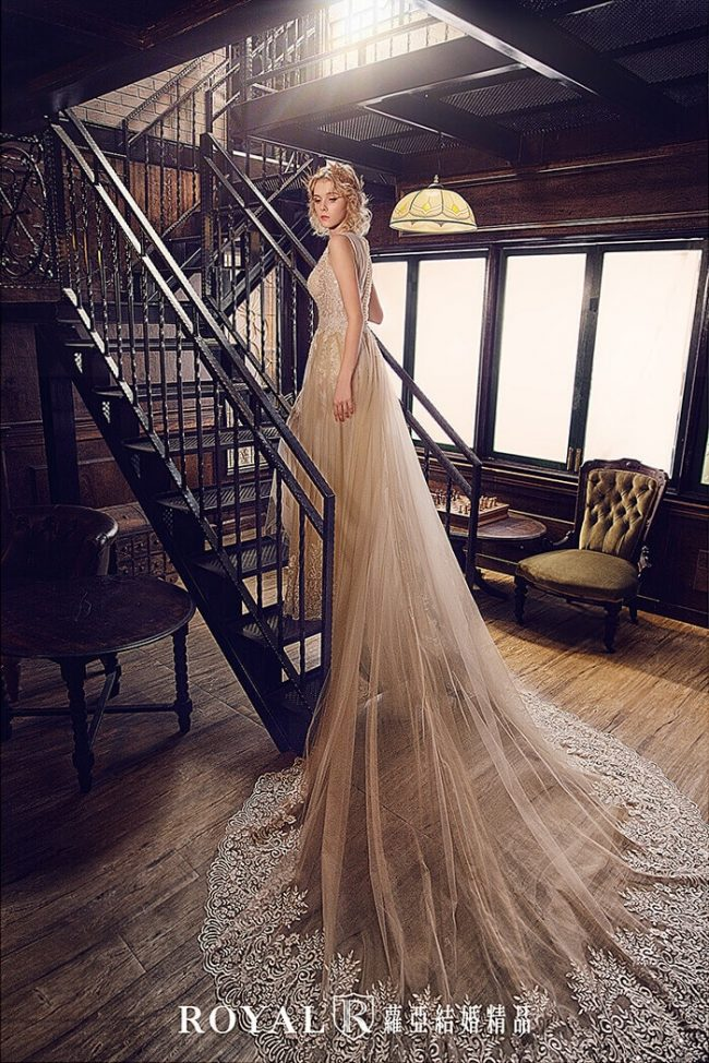 婚紗禮服款式-裸紗婚紗-手工婚紗-婚紗款式2020-a line婚紗