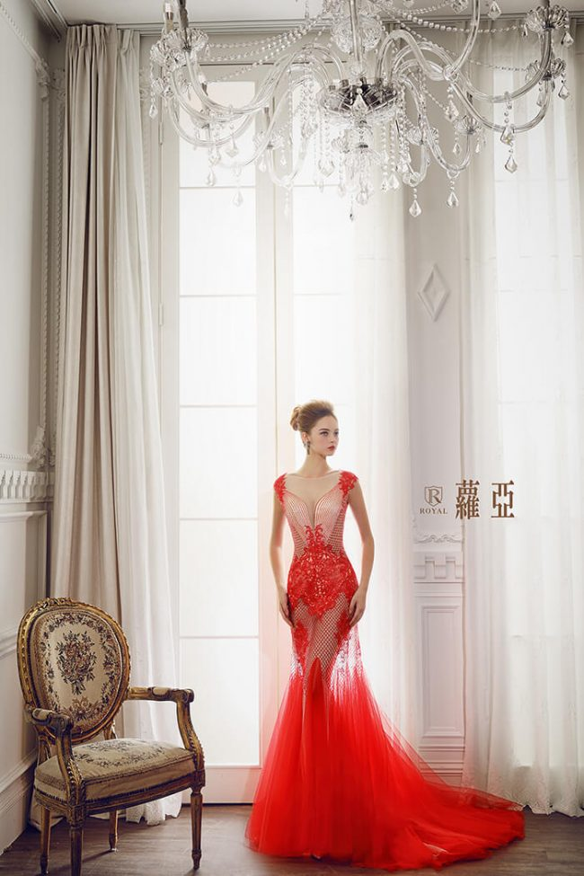 婚紗禮服款式-裸紗婚紗-手工婚紗-魚尾婚紗-紅色禮服