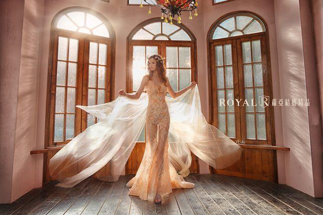 婚紗禮服款式-裸紗婚紗-桃心領婚紗-魚尾婚紗