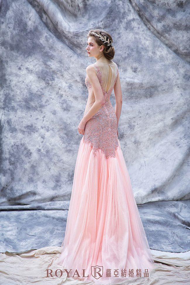 婚紗禮服款式-裸紗婚紗-粉紅婚紗-手工婚紗-魚尾婚紗