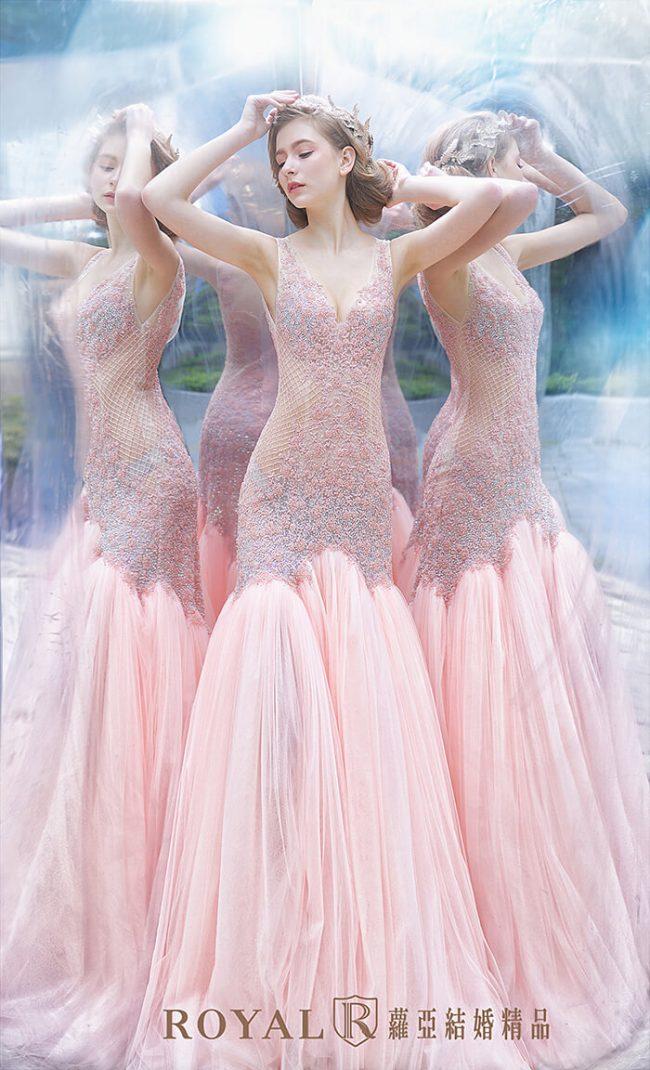 婚紗禮服款式-裸紗婚紗-粉紅婚紗-魚尾婚紗-手工婚紗