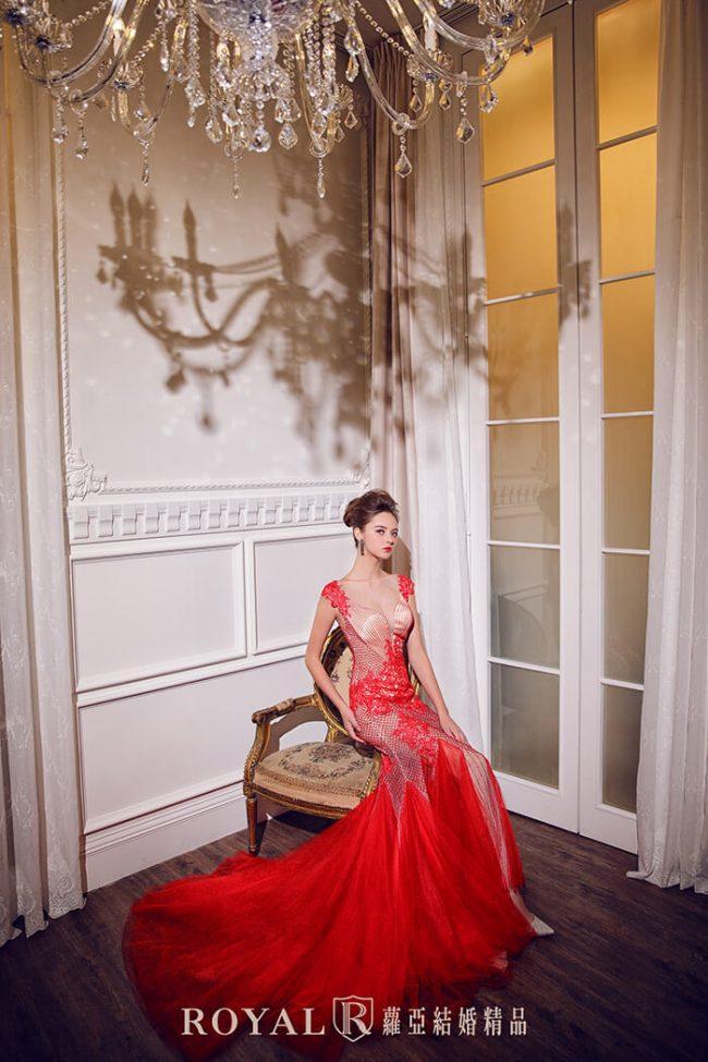 婚紗禮服款式-裸紗婚紗-紅色禮服-婚紗款式2020-手工禮服-魚尾婚紗